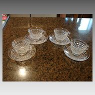 Fostoria Glass American 4 Coffee Cups & Saucers Sets