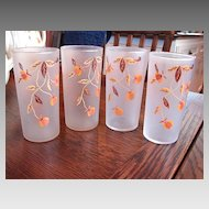 4 Libbey Tumblers Frosted Glasses for Hall China Jewel Tea Autumn Leaf