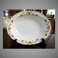 Hall China Jewel T Autumn Leaf  Oval Vegetable Serving Bowl