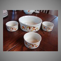 Hall China Jewel Tea Autumn Leaf Open Casserole French Baker & 3 small Souffle Bakers  Hall #505