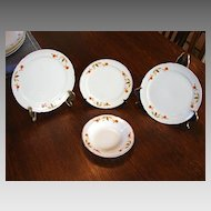 :    Hall's China Jewel Tea Autumn Leaf 4 Pieces Fruit Dish Bread and Butter Plate 2 Dessert Salad Plates