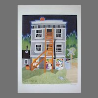 """Rie Munoz Limited Edition Art Print """"Dinner at the Caribou Hotel"""" Vintage Scarce"""