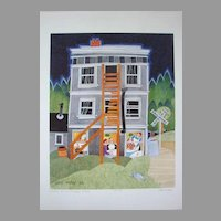 "Rie Munoz Limited Edition Art Print ""Dinner at the Caribou Hotel"" Vintage Scarce"
