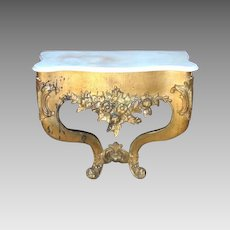 Carved Marble Top Gilt Petite Bracket Console Pier Table Period 18th Century Rococo