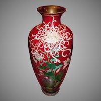 Cloisonne Vase Pigeon Blood Japanese Meiji Akasuke