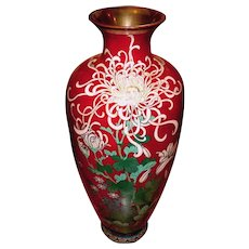 """18"""" Japanese Meiji Akasuke Cloisonne Vase Pigeon Blood"""
