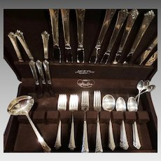 56 Piece Damask Rose Sterling Flatware Set Dinner Oneida