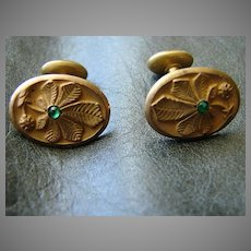 Antique Victorian Cufflinks Gold Filled and Paste Costume Cuff Links