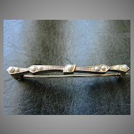 Victorian Gold Filled Bar Pin Brooch Pin Seed Pearl