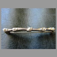 Victorian Gold Filled Bar Pin Brooch Pin Natural Seed Pearl