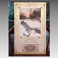 1934 Winter Solitude Print Advertising Pharmacy Calendar  Art Deco Arts & Crafts Design