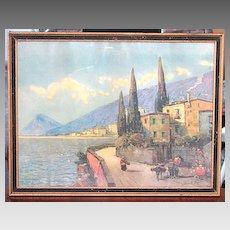 1920-1930s Mediterranean Print A Sunny Harbor Period Original Frame