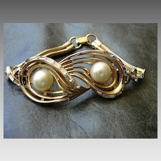 Costume Jewelry Corocraft Designer Bracelet Rhinestone Emerald Cut Baguettes