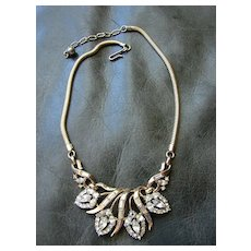 Costume Jewelry Necklace Attrib. Corocraft Designer Necklace Baguette Pear Round Rhinestones