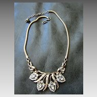 Costume Jewelry Necklace Attrib. Corocraft Designer Necklace Baguette Pear Round Rhinestones