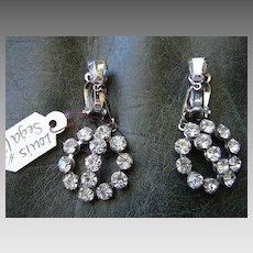 Costume Jewelry Designer Rhinestone Dangle Earrings Louis Segal California Vintage fine