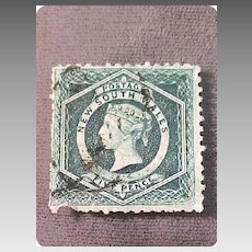 Postage Stamp 1854 New South Wales 5 Pence Dark Green Perf
