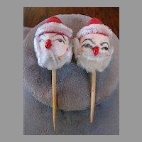 2  Chenille Clay Face Santa  Ornaments  Mid Century