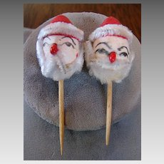 2 Japan Santa Chenille Clay Face Ornaments Christmas Decorations Vintage