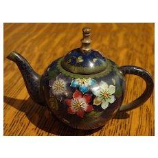 Cloisonné Japanese Teapot Antique Cabinet Miniature