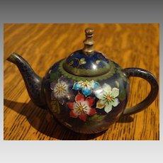 Cabinet Miniature Antique Cloisonné Chinese Teapot Child Lg Dollhouse Size