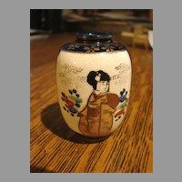 Antique Japanese Satsuma Vase Cabinet Miniature Pottery Dollhouse Size