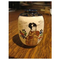 Antique Japanese Satsuma Vase Cabinet Miniature Pottery Dollhouse Size