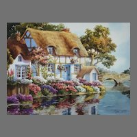 """Erin Dertner Limited Edition Print """"River Bank Cottage"""" Scarce!"""