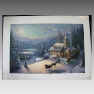 Thomas Kincade Limited Edition Print Sunday Evening Sleigh Ride Moonlit Village II Series Original 444/2850 Rare