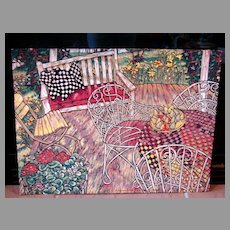 """""""Spring Porch"""" Mary Mark Hand Pulled Linoleum Limited Edition Print Fine Art 61/64"""