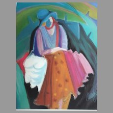 """Anne Ormsby Limited Edition Print """"Garbo Seated"""" Serigraph"""