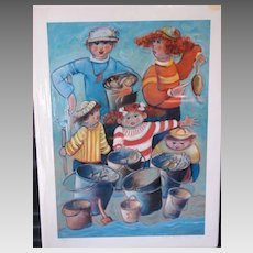 """Dixie Rogerson Limited Edition Print """"The Whole Clam Familyl""""  Original Lithograph"""