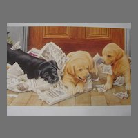 "Reagan Ward Limited Edition Print ""Puppies & Newspaper"" Scarce!"