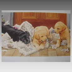 "Reagan Ward Limited Edition Print ""Puppies & Newspaper"" Scarce!"