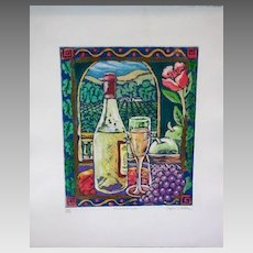 "Stephen Whittle Fine Art Limited Edition Serigraph Textured Print ""Fruit and Wine"" Vintage Superb Store or Decorator Scarce Print"