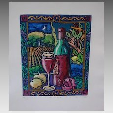 """Stephen Whittle Fine Art Limited Edition Serigraph Textured Print """"Vineyard at Night"""" Vintage Superb Store or Decorator Scarce Print"""