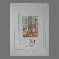 """Old Nursery Rhymes """"Polly Put The Kettle On"""" Limited Edition Print Vintage English"""