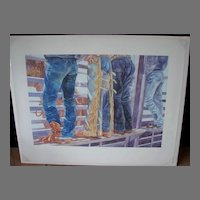 """Sandy Delehanty Limited Edition Watercolor  Rodeo Jeans Print """"Bronco Bustin Buns"""""""