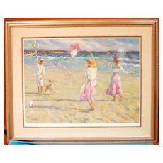 Kite Festival Beach Scene Limited Edition Artist Proof Signed Don Hatfield AP#38/64 Custom Conservation Gallery Framed