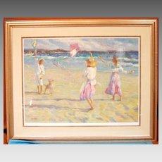 Kite Festival Beach Scene Limited Edition Artist Proof Signed Don Hatfield AP#38/64 Custom Conservation Gallery Framed