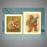 Pair Limited Edition Art Prints Dixie Rogerson  Duck Hunter & Blue Fish 1984 1985