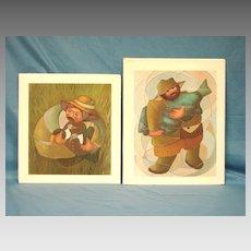 2 Limited Edition Art Print Pair Dixie Rogerson Artist Duck Hunter & Blue Fish 1984 1985