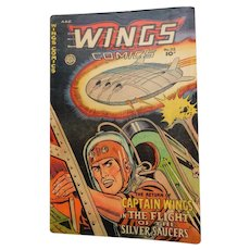 1950 Wings Comics 112 Return of Captain Wings Flight of Silver Saucers Vintage Comics Book
