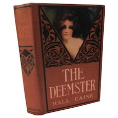 The Deemster by Hall Caine Isle of Man Victorian Romance Novel Lithograph Lady Cover Fine Binding