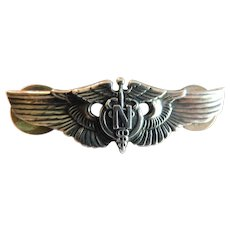 World War II US AAF Flight Nurse 2 Inch Wings Clutchback Acid Test Sterling Original Era with Clutch Clasps Sterling stamped WW2