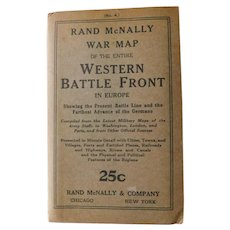 Detailed World War I Western Battle Fronts of Europe Rand McNally Pocket Fold Out Map WW1 1914 German Advance Shown