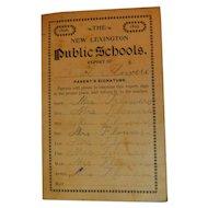 1898 & 1899 The New Lexington Public Schools Ohio Report Card for Nial Flowers Antique Victorian Student Grades