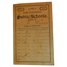 1898 & 1899 The New Lexington Public Schools Ohio Report Card for Nial Flowers Antique Victorian Student Grades