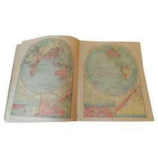 Census Edition 1912 Cram's Junior Atlas of the World Engraved Maps States Foreign Countries U.S. Possessions Antique School Book