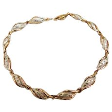 Stamped Sterling Silver 925 Yellow Gold & White Gold Vermeil Plated Two Tone Classy Faux Diamond Bracelet 7.25inches